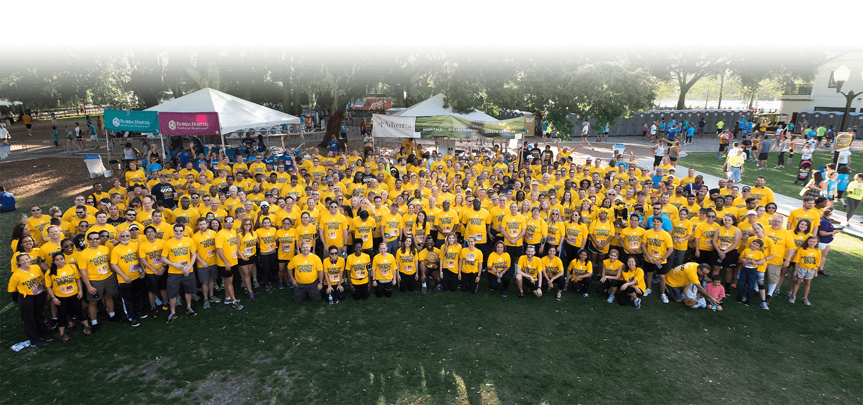 Large group of employees participating in a 5k run